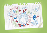 Ecology doodles icons drawing on paper. Royalty Free Stock Images