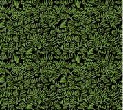 Ecology doodles seamless pattern black background Royalty Free Stock Photos