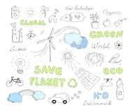 Ecology doodles vector elements set. Hand drawn vector illustration set of ecology and alternative energy doodles elements. Isolated on white background Stock Photos