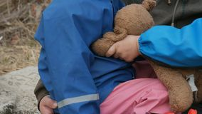 Ecology. Dump, Young children in the contaminated area together with their mother live in the future. stock footage