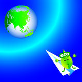 Ecology Earth. Going to save the planet ecology cute Vector Illustration
