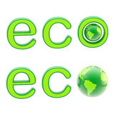 Ecology eco emblem sign with a planet isolated. Ecology eco emblem green sign with a planet globe isolated on white royalty free illustration