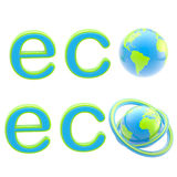 Ecology eco emblem sign with a planet isolated Royalty Free Stock Photos