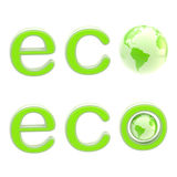 Ecology eco emblem sign with a planet isolated Royalty Free Stock Photo