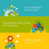 Ecology eco friendly pollution green planet flat web template. Flat ecology, eco friendly, pollution, green planet concept. Vector icon banners template set Stock Illustration