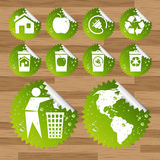 Ecology eco icon sticker set Royalty Free Stock Photo