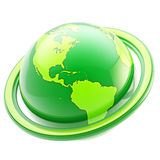 Ecology and eco life: green planet emblem isolated. Ecology and eco life: green healthy glossy planet emblem isolated on white royalty free illustration