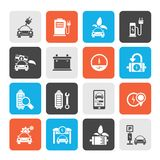 Ecology and Electric Car icons stock photos