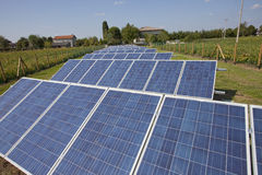 Ecology electric energy farm with solar panel battery in green f Royalty Free Stock Photo