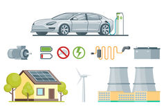 Ecology Elements Set. With charging electric car engine battery solar panel windmill chimneys eco signs  vector illustration Stock Images