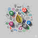 Ecology emblem. Environment collage with icons background Royalty Free Stock Photography