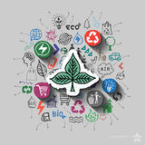 Ecology emblem. Environment collage with icons background Royalty Free Stock Images