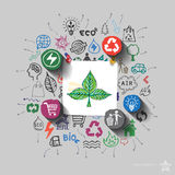 Ecology emblem. Environment collage with icons background Royalty Free Stock Photos