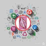 Ecology emblem. Environment collage with icons background Royalty Free Stock Image