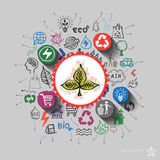 Ecology emblem. Environment collage with icons background Stock Photography
