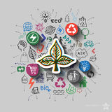 Ecology emblem. Environment collage with icons background Royalty Free Stock Photo