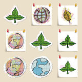 Ecology emblems set. Hand drawn and isolated Stock Photos