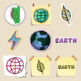 Ecology emblems set. Hand drawn and isolated Royalty Free Stock Photo