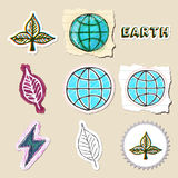 Ecology emblems set. Hand drawn and isolated Royalty Free Stock Photos