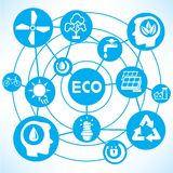 Ecology and energy concept. Network in blue background Royalty Free Stock Images