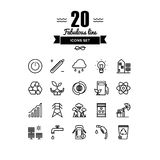Ecology and energy elements line icons set Stock Photos