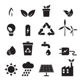 Ecology, energy, environment icons set Royalty Free Stock Photography