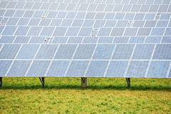 Ecology energy farm with solar panel battery field Royalty Free Stock Photography
