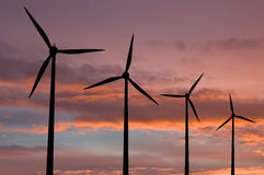 Ecology Energy Farm With Wind Turbine Stock Photo