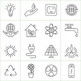 Ecology and energy line icons. Vector illustrations stock illustration