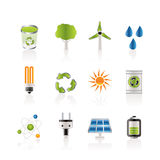 Ecology, energy and nature icons Stock Images