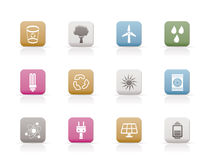 Ecology, energy and nature icons Royalty Free Stock Photo