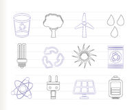 Ecology, energy and nature icons Royalty Free Stock Image