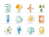 Ecology, energy and nature icons Royalty Free Stock Images