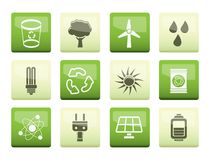 Ecology, energy and nature icons over green background. Vector Icon Set vector illustration