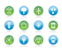 Ecology, energy and nature icons Stock Photos