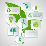 Ecology and energy paper bubbles infographic. Energy and ecology paper speech bubbles business infographics design elements with green leaf background concept Stock Photos