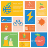 Ecology energy and Power conservation science set. Stock Image