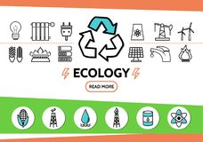 Ecology And Energy Safety Concept. With bulb plug socket recycle trash windmill battery solar panel and electricity line icons isolated vector illustration Royalty Free Stock Images