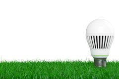 Ecology Energy Save Concept. Led Bulb over Grass. 3d Rendering Royalty Free Stock Image
