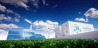 Ecology energy solution. Power to gas concept. Hydrogen energy s. Torage with renewable energy sources - photovoltaic and wind turbine power plant in a fresh Stock Photo