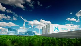 Ecology energy solution. Power to gas concept. Hydrogen energy storage with renewable energy sources - photovoltaic and wind turbi