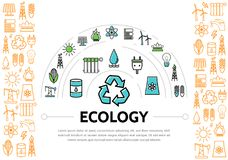 Ecology And Energy Template. With radiator sun solar panel recycle bulb plug socket battery trash oil tower tap isolated vector illustration Royalty Free Stock Images