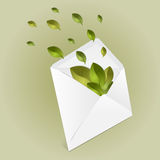 Ecology envelope with leaves Stock Images