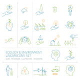 Ecology and environment colorful  icons set Royalty Free Stock Photography