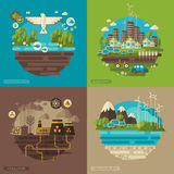 Ecology, environment, green energy and pollution. Vector flat design concept illustrations with icons of ecology, environment, green energy and pollution.  Save Royalty Free Stock Photos