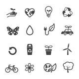 Ecology and environment icons. Mono vector symbols Stock Photo