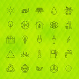 Ecology Environment Line Icons Set over Polygonal Background Royalty Free Stock Photos