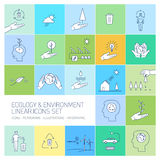 Ecology and environment linear icons set Stock Photo