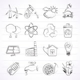 Ecology, environment and recycling icons Royalty Free Stock Photography