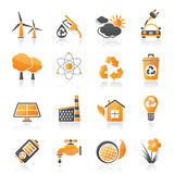 Ecology, environment and recycling icons Stock Photography